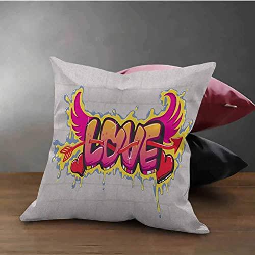 N\A Love Square Housse de Coussin Valentines Lettrage Wall Brushing Dripping Street Wings Illustration Coussin décoratif avec Fermeture à glissière Beige Rose Jaune Rouge
