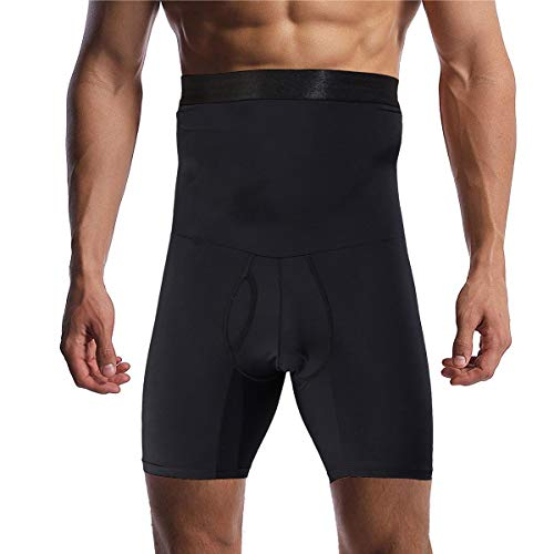Optlove Men's Tummy Control Shapewear Shorts High Waist Slimming Anti-Curling Underwear Body Shaper Seamless Boxer Brief Black
