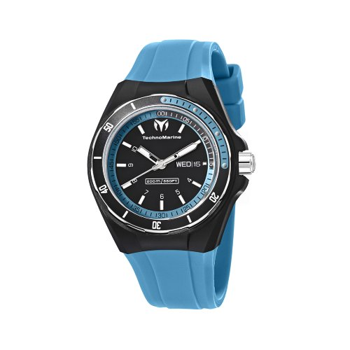 TechnoMarine Unisex 110014 Cruise Sport 3 Hands Black and Blue Dial Watch