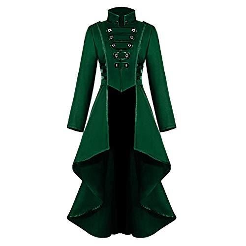 Medieval Steampunk Jacket for Women, Vintage Halloween Costumes Gothic Button Corset Tailcoat Tuxedo Uniform (XX-Large, Green)