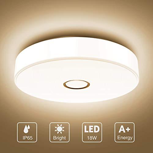Onforu 18W LED Deckenleuchte Badezimmer, IP65 Wasserdicht Deckenlampe, 1600lm 2700K Warmweiß Küchenlampe, CRI über 90 Badezimmerlampe, Badlampe Decke Lampe für Küche, Schlafzimmer, Wohnzimmer, Bad