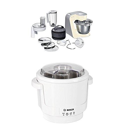 Bosch MUM58920 Küchenmaschine CreationLine, 1000 W, 3,9 l Edelstahl-Rührschüssel, 3D Rührsystem, 7 Schaltstufen, smooth vanilla/silber + MUZ5EB2 Eisbereiter Küchenmaschinenzubehör