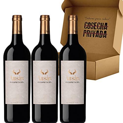 Ausás Interpretación - Envío Gratis 24 H - Vino Tinto - 3 Botellas - Ribera del Duero - Vino Regalo - Seleccionado y enviado en caja reforzada por Cosecha Privada