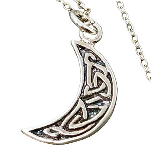 Sterling Silver Celtic Crescent Moon Charm Necklace, 18'