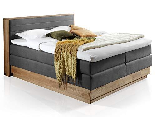 moebel-eins MENOTA Boxspringbett mit Bettkasten, massivem Holzrahmen und Bezug im Vintage Look, 160 x 200 cm, grau, Härtegrad 2+4