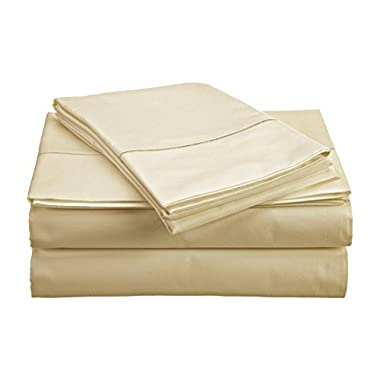 CHATEAU HOME COLLECTION 800-Thread-Count Egyptian Cotton Deep Pocket Sateen Weave King Sheet Set, Ivory