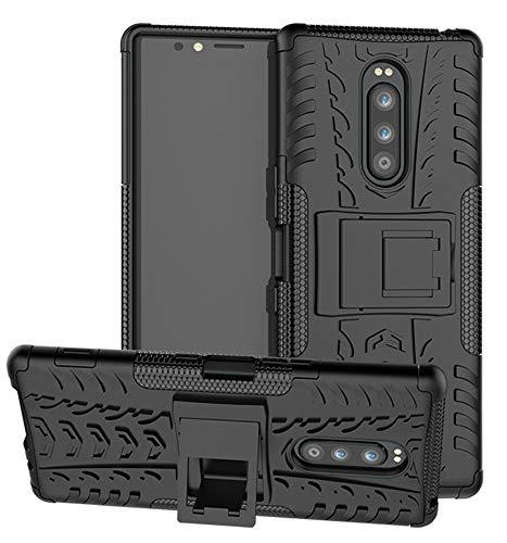 Yiakeng Funda Sony Xperia 1 Carcasa, Doble Capa Silicona a Prueba de Choques Soltar Protector con Kickstand Case para Sony Xperia 1 (Negro)
