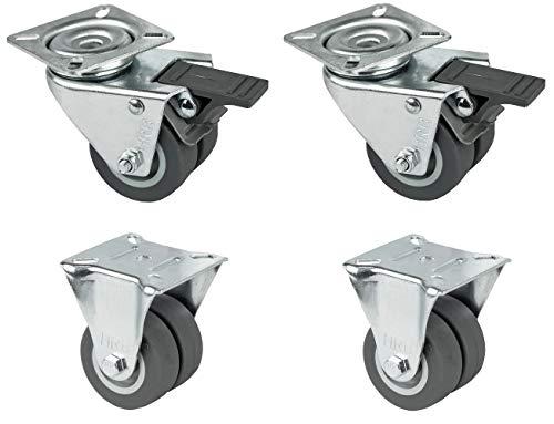 HRB Strandkorbrolle, Möbelrolle, Tragkraft 400 Kg (2x Lenkrolle mit Bremse + 2x Bockrolle)