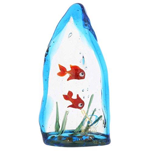 Murano Glas Aquarium mit Zwei tropischen Fischen - 4 Zoll