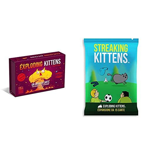 AsmodeeAsmodee - Exploding Kittens: Party Pack, Gioco Di Carte, Edizione In Italiano, 8543 & Streaking Kittens, Espansione Gioco Di Carte Exploding Kittens, Edizione In Italiano, 8544