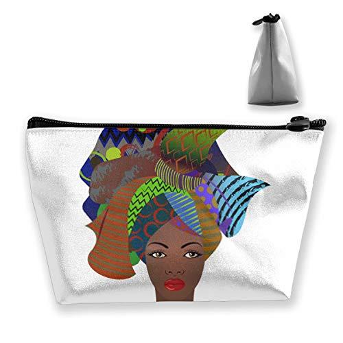 Retrato de la Joven Mujer Africana Colorido Abrigo de Turbante Moda Afro Ankara Ken Bolsa de Maquillaje Bolsas de cosméticos Organizador de Viaje Mini Estuche de Tren