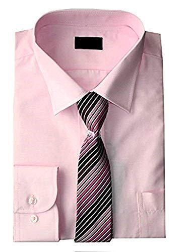 Jungen Hemd und Krawatte Set Langarm EU 68-170 - Rosa, 134-140
