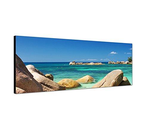 Pietre–quadro su Tela come Panorama in 150x 50cm Seychelles Mare Spiaggia baldacchino