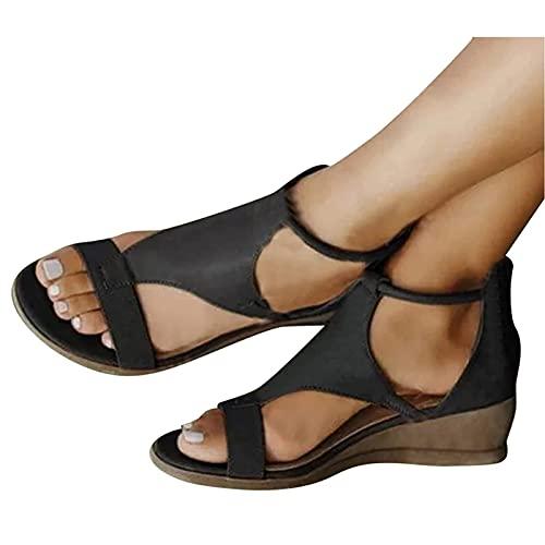 EEUK Sandalias de Cuña Mujer Verano 2021, PU Cuero Suave Zapatos con Punta Abierta Plataforma De Cuero Sintético Zapatos De Ocio Suave y Confortable Zapatos Romanos
