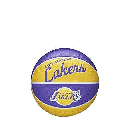 Wilson Mini-Basketball TEAM RETRO, LOS ANGELES LAKERS, Outdoor, Gummi, Größe: MINI