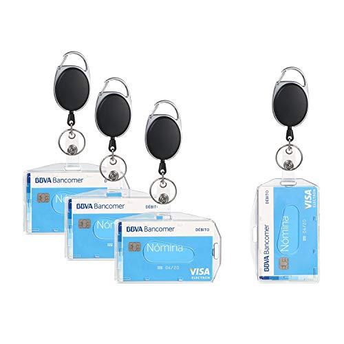 Vicloon Ausweishüllen, 4 Stück ID Kartenhalter mit Retractable Schlüssel Jojo, Ausweishalter mit Clip, Aus Plastik Hartplastik, Horizontal/Vertikal 2 Arten Zum Tragen, für ID Badge Holder