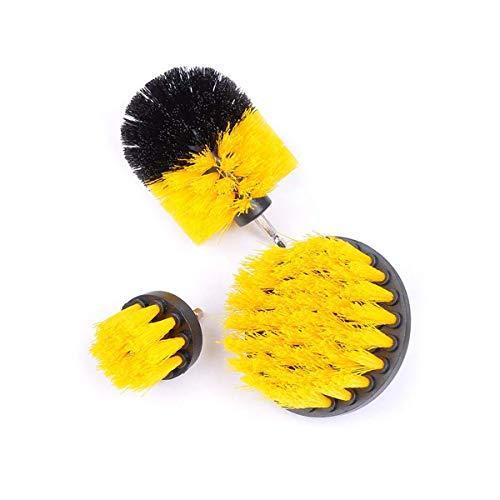 ExeQianming Set di spazzole per Trapano Spazzole per Scrubber, 3 Pezzi Kit di Pulizia per superfici da Bagno Pavimenti in Legno Piastrelle Angoli Cucine Auto (Dorato)
