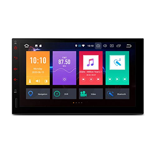 XTRONS Android 10 Car Stereo Radio Player Universal Double Din GPS Navigation Octa Core 4G RAM 32G ROM 7 Inch Touch Screen Head Unit Supports Android Auto Car Auto Play Backup Camera OBD2 DVR TPMS