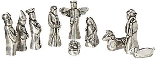 Nativity Set Mini Pewter Figurine 10 pc Set w/ Velvet Pouch