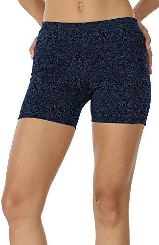 icyzone Damen Tights Shorts Sport Kurze Hosen - Laufshorts Fitness Yoga Leggings (M, Navy)