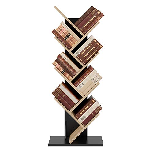 Estanterías para Libros Estantería Librería Estantería Almacenaje Madera de Forma Árbol con 8 Estantes para Salón Dormitorio Oficina Negro y Roble