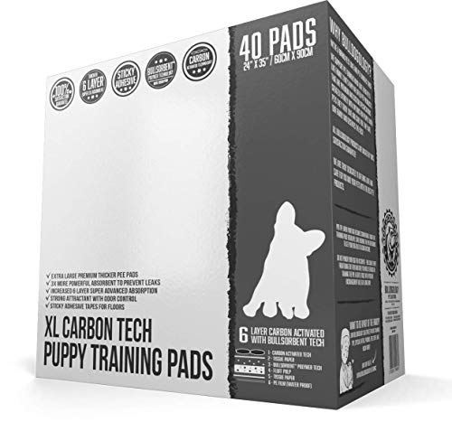 Bulldoglogy Carbon Black Puppy Pee Pads with Adhesive Sticky Tape - Extra Large Charcoal Housebreaking Dog Training Wee Pads (24x35) (40-Count, Black)