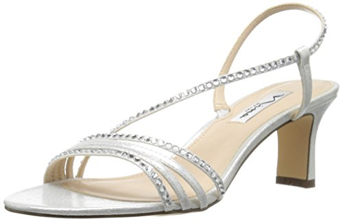 Nina Women's Gerri-Fy Dress Sandal, Silver Reflect Suedette, 8.5 M US