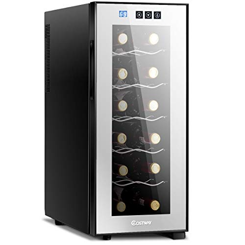 COSTWAY Wine Cooler, 6 Bottles Freestanding Champagne Chiller, Counter Top Wine...