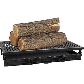 Grille de foyer en acier et en fonte avec bac à cendres