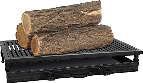 Grille de foyer en acier et en fonte avec bac à cendres 52x31x12 cm
