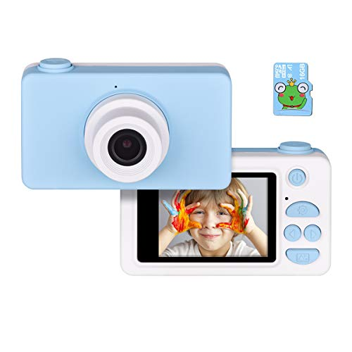 Tyhbelle Digitale Kamera für Kinder Robuste HD Kinderkamera 2,0 Zoll Farbdisplay 24 Megapixel 1080p Videokamera mit USB Kabel (Blau+16GB Speicherkart)