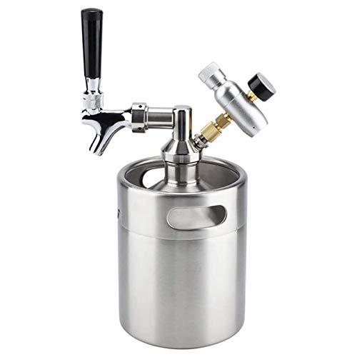 Cobeky Barril de cerveza de acero con grifo ajustable e inyector de CO2 para cerveza, soda, vino 5L