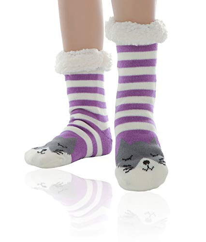 WYTartist Hausschuhe Socken Damen Kuschelsocken Stoppersocken Wollsocken Wintersocken ABS Sohle Premium Hausschuhsocken Wollsocken Damen Thermosocken (Violett)