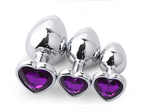 Mango en forma de corazón Stimulator Entrenador liso de acero inoxidable An-âl Pl-ùg Kit para pareja Mujer Juguetes (Deep Purple)