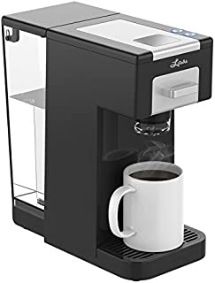 Litchi Single Serve Coffee Maker for Single Serve Pods & Ground Coffee, K Cup coffee maker with Detachable Reservoir 40 OZ, Reusable Filter Included, Black