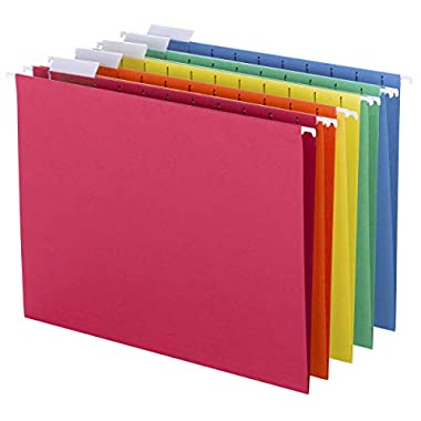 Smead Colored Hanging File Folder with Tab, 1/5-Cut Adjustable Tab, Letter Size, Assorted Primary Colors, 25 Per Box…