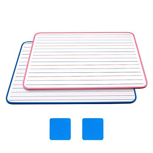 2 pizarra blanca, pizarra de doble cara,tablero blanco de borrado, pizarra de notas, pizarra de anuncios para planificación del aprendizaje, con 2 Borrador pizarra 21 x 30 cm
