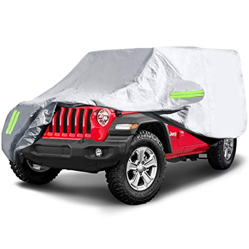 ELUTO Car Cover for Jeep Wrangler Cover 2 Door Waterproof Jeep Car Cover Waterproof All Weather Protection Outdoor Car Cover with 2 Gust Straps Fits up to 170''(170''L x 75''W x 71''H)