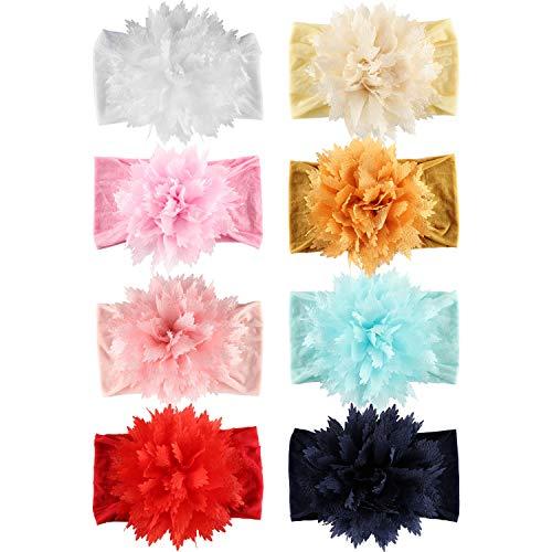 8 PACK Elastic Stretchy Elastic Soft Big Flower Bow Nylon Wide Headbands Hairband Turban Headwraps Hair Bows Accessories for Kids Toddler Infant Newborn Baby Girl Bulk