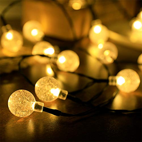 Lwind Globe Solar String Lights, 22.96ft 50 LED Outdoor Bulb String Lights, Waterproof 8 Modes Solar Patio Lights for Patio, Garden, Gazebo, Yard, Outdoors (Globe, Warm White)