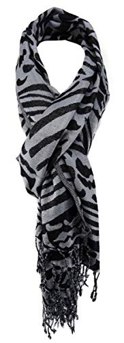 TigerTie Designer sjaal in grijs zwart dierpatroon - grootte 180 x 70 cm