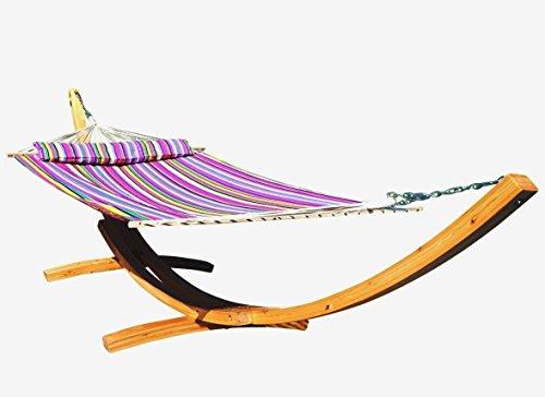 ASS 410cm XXL Hängemattengestell Natur-Filled Edition PINK Hängematte mit Gestell aus Holz Lärche mit Stabhängematte (GEPOLSTERT) inkl. Kopfkissen