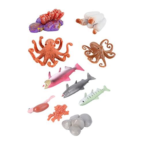 Cabilock 2 Juegos de Ciclo de Vida de Animales Marinos Modelo de Ciclo de Vida de Salmon Figura de Ciclo de Crecimiento de Pulpo Figurita Peces Aprendizaje Educación Conjunto Juguetes para