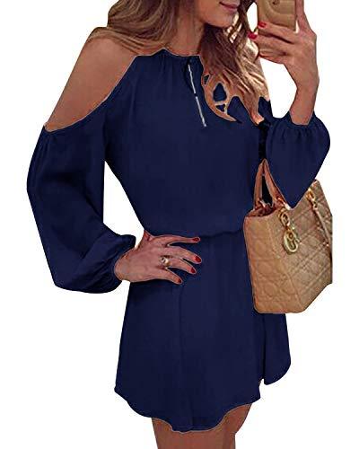 YOINS Sommerkleid Damen Kurz Schulterfrei Kleid Elegante Kleider für Damen Strandmode Langarm Neckholder A Linie Dunkelblau EU36-38(Kleiner als Reguläre Größe)