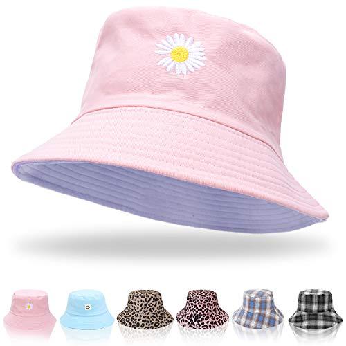 Keho Sombreros de cubo para mujer, sombrero de verano, sombrero de pescador, de algodón, reversible, sombrero de playa, para mujeres, hombres, adolescentes, Margarita Rosa, Talla única
