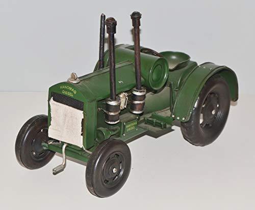 JS GartenDeko Blechtraktor Nostalgie Modellauto Oldtimer Marke Hanomag Schlepper Traktor Modell aus Blech L 33 cm