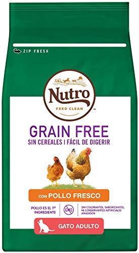 Nutro Grain Free Alimento Seco con Pollo Fresco para Gatos Adultos, Pienso Sin Cereales ni OMG, 1,4 kg ✅