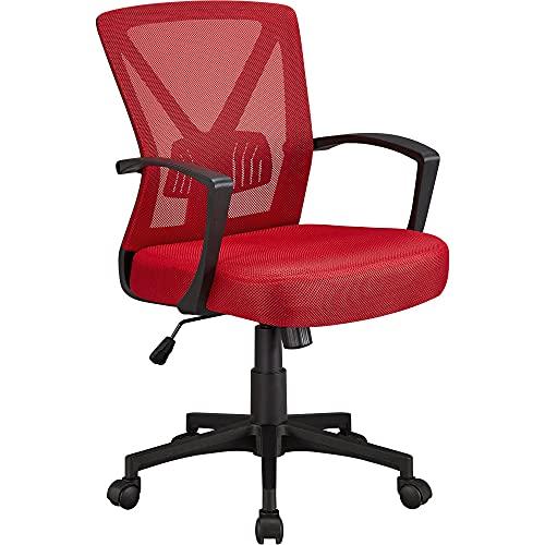 sedia ergonomica rossa Yaheetech Sedia da Ufficio Scrivania Ergonomica Lombare Girevole Reclinabile a Rotelle Altezza Regolabile con Braccioli Rossa