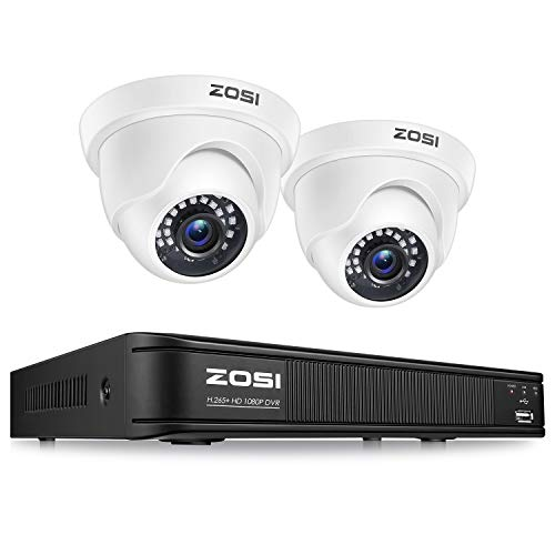 ZOSI H.265+ Full 1080p Home Security Camera System,5MP Lite CCTV DVR Recorder 4 Channel and 4 x 2MP 1080P Weatherproof Surveillance Dome Camera Outdoor Indoor with 80ft Night Vision (No Hard Drive)