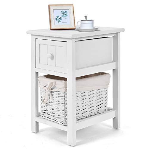 DREAMADE Nachtkommode Holz, Nachttisch mit Schublade, Nachtschrank Nachttisch Beistelltisch mit Korb, Weiß